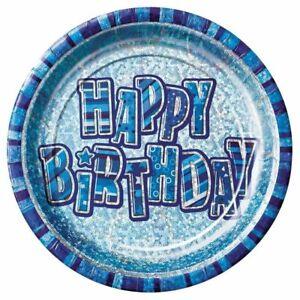 8-x-9-034-Blue-Glitz-Prismatic-Plates-Happy-Birthday-Boys-Party-Tableware-Supplies