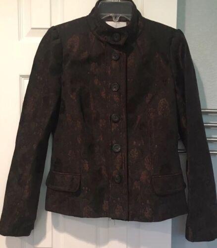Mischka Jacquard Brown Green 10 Blazer Metallic Sz Floral Badgley Giacca Jacket ESwBBq