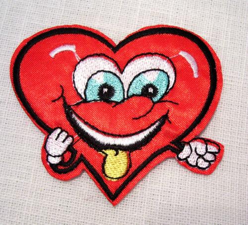 7 x 6 cm ÉCUSSON PATCH BRODÉ thermocollant COEUR HUMORISTIQUE SMILEY rouge