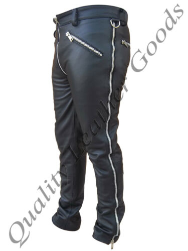 MENS LEATHER JEANS CHAPS BREECHES PANTS TROUSERS BLUF BIKER GOTHIC GAY 11FN