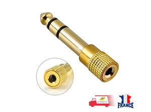 Prise-Adaptateur-Fiche-JACK-6-5-mm-vers-3-5-mm-male-femelle-Audio-Stereo