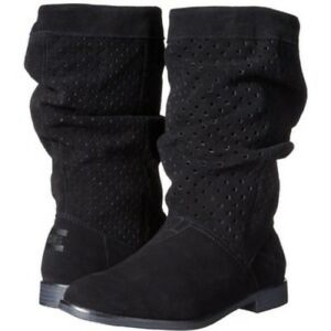 Tom s Women s Serra Black Suede Perforated Boots Size  5 Bootie  ef42761602