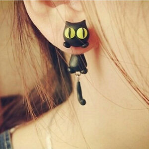 1-Pair-Fashion-Jewelry-Women-039-s-3D-Animal-Cat-Polymer-Clay-Ear-Stud-Earring-UK