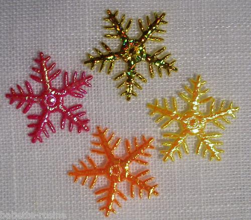Coloris assortis ** 25 mm ** LOT de 4 APPLIQUES étoile de neige N°6E