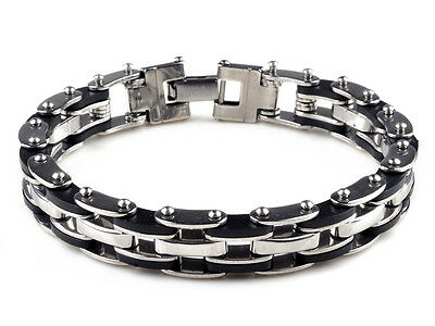 Mens Stainless Steel Link Bracelet Bangle Chain Black Rubber Wristband Gift 8.5""