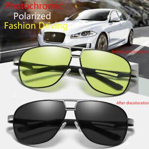 Men-039-s-HD-Polarized-Photochromic-Sunglasses-Pilot-Chameleon-Driving-Sun-Glasses