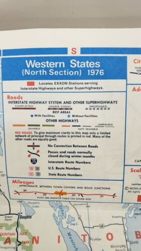 1976 EXXON Bicentennial Road Map WESTERN UNITED STATES California Texas Colorado
