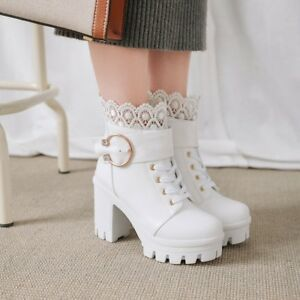Womens-Fashion-Sweet-Lace-Buckle-Strap-Gothic-Chunky-High-Heels-Ankle-Boots-Size