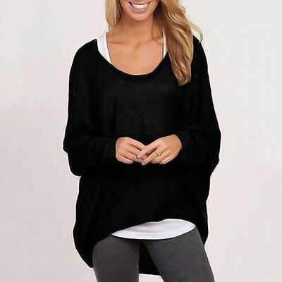 Womens Long Sleeve Plus Size Sweater T-Shirt  Pullover Loose Jumper Blouse Tops