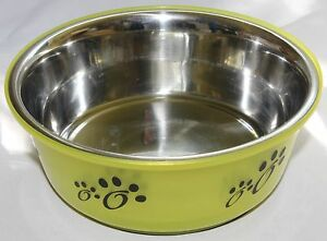 Fusion-Pet-Bowl-Green-for-Dog-or-Cat-food-water-Stainless-Steel-1L-32oz