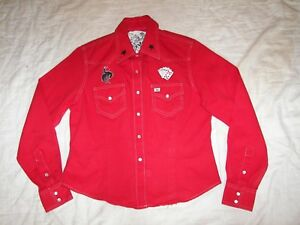 Cruel girl red western shirt w pearl snaps cards cowboys