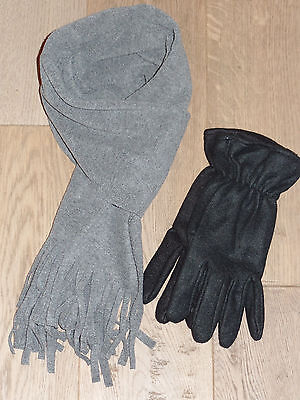 *winterset* Schal+handschuhe* Fleece* Grau/schwarz* Lange Lebensdauer