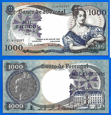 Portugal 1000 Escudos 1967 UNC Maria 2 FREE Shipping Worldwide Skrill Paypal