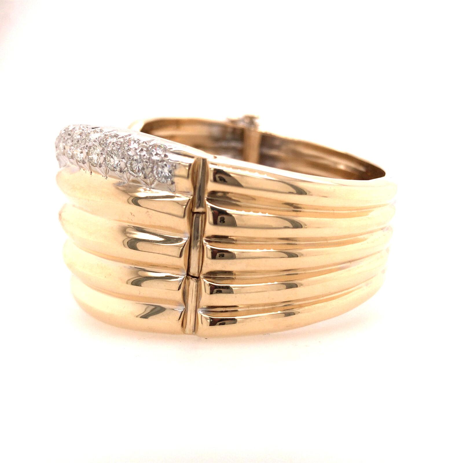 14K Wide Diamond Twist Cuff Two-Tone Gold - image 3