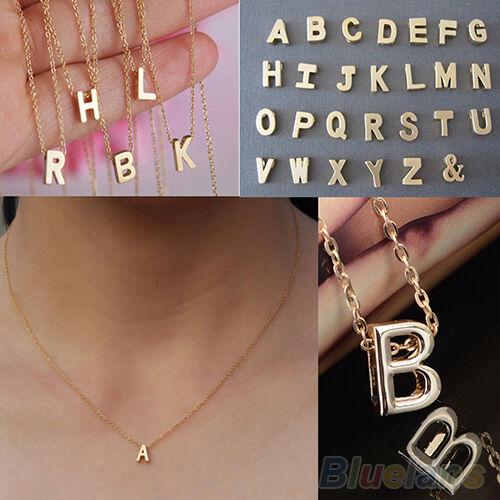 Exquisite Womens Girl DIY Letter Name Initial Link Chain Charm Pendant Necklace