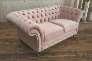Modern Handmade 2 Seater Plush Dusty Pink Velvet Chesterfield Sofa