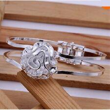 Silver Rose Flower Cuff Bangle Bracelet Valentine Gift Sterling Charm Men Women