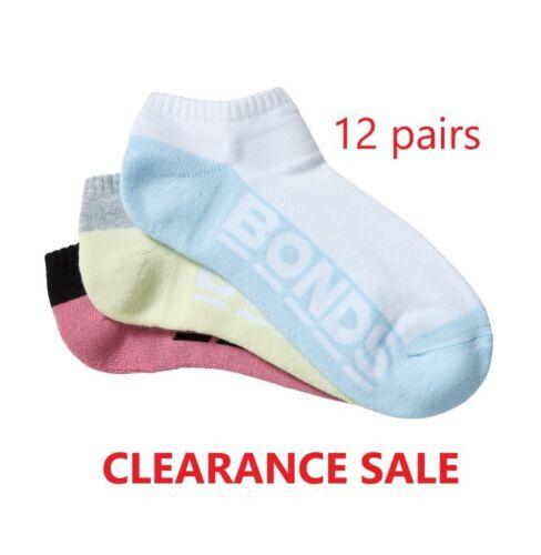 BONDS 12 PAIRS LOW CUT WOMENS SOCKS Sports Logo Sock WHITE BLACK*CLEARANCE SALE*