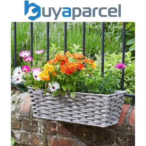 Smart Garden 48.3cm Rotin Effet Mural Clôture Balcon Gris Plante Trough Panier