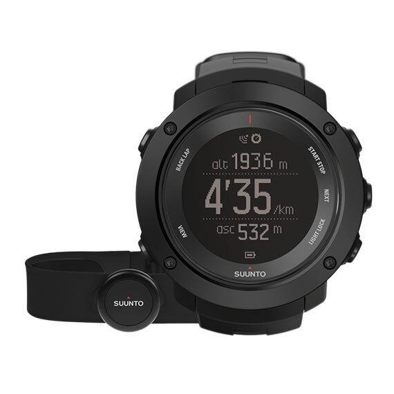 Uhr GPS Wandern Outdoor Bergsteigen SUUNTO GrünICAL HR schwarz