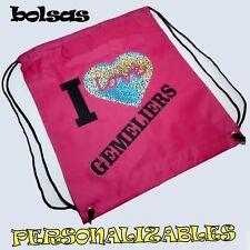 Mochila Saco Bolsa Gimnasio Gym I LOVE gemeliers, Rihanna, nombre personalizable