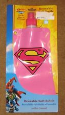 Pink Superman Reusable Soft Water Bottle SUPERGIRL Stands Full &  Folds Empty