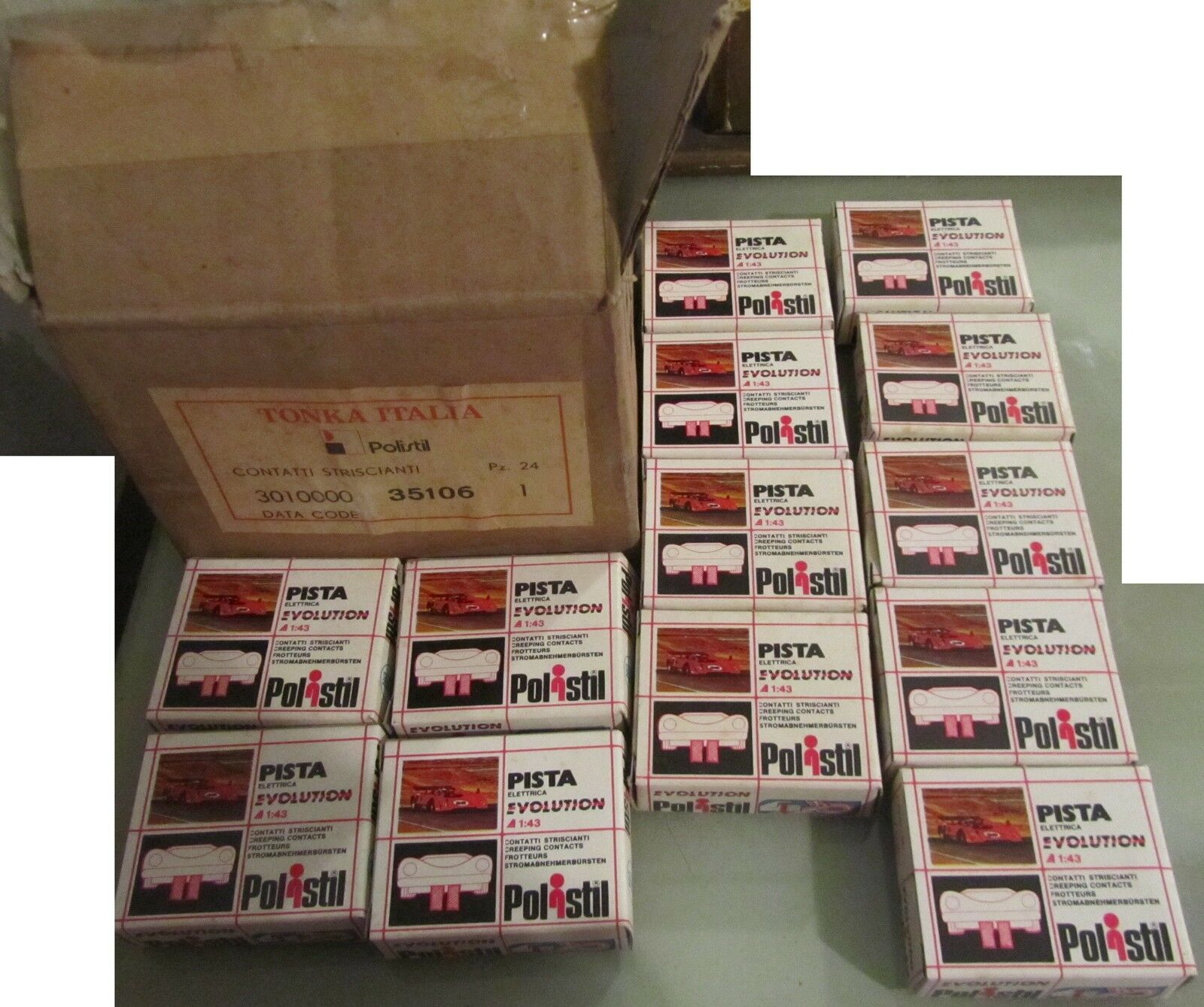 Lotto 13 box contatti striscianti pista elettrica evolution tonka polistil + BOX