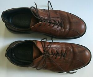 Ecco-Light-Men-039-s-13-47-Brown-Leather-Lace-Up-Shock-Point-Casual-Oxford-Shoes