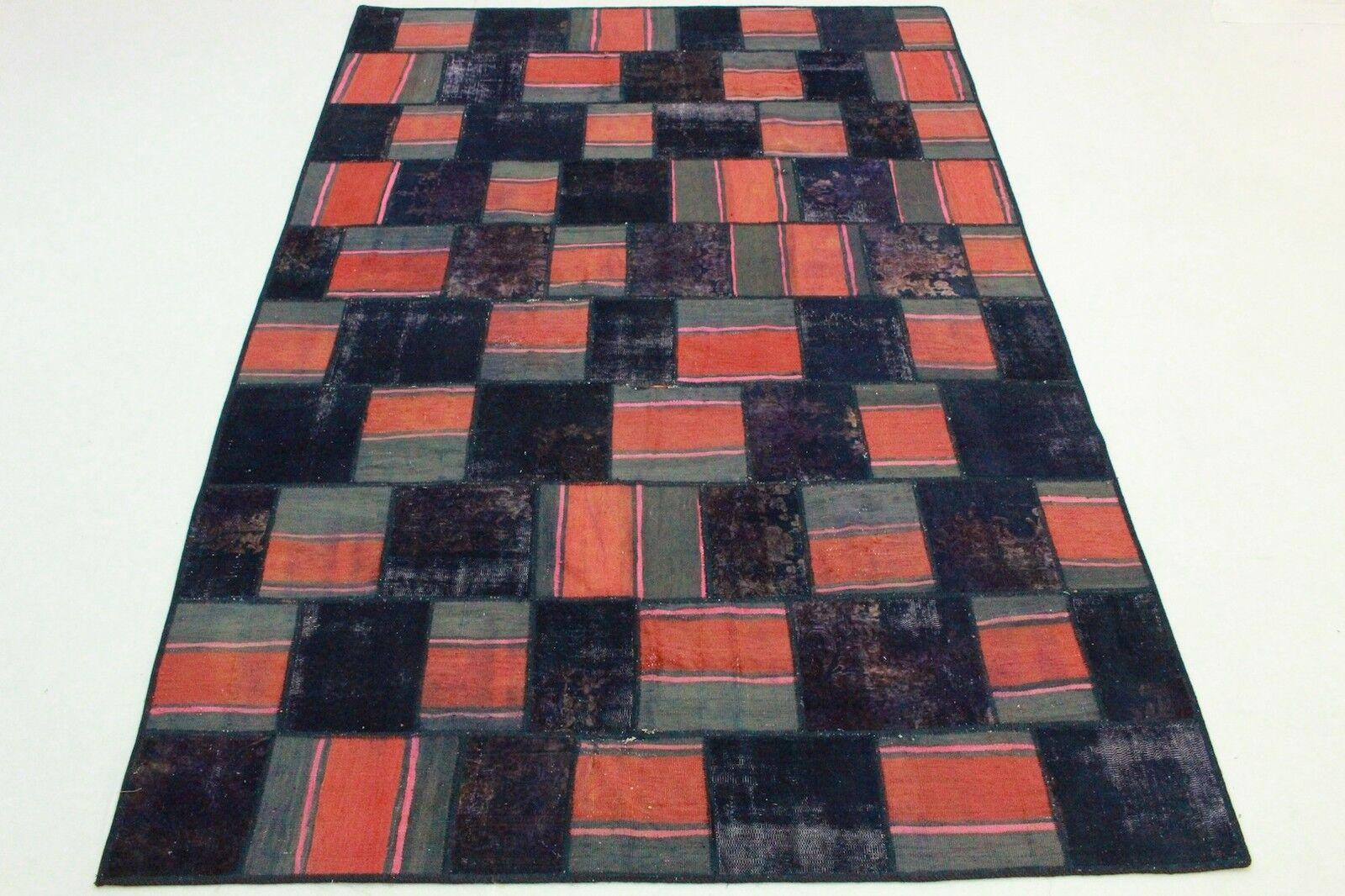 Vintage patchwork Kilim Orient alfombra Modern design 300x200 púrpura rojo gris 2651