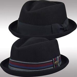 cfa82fcb Men's Felt Wool Fedora Porkpie Hat, Diamond Top Crushable Stingy ...