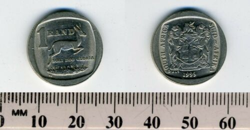 South Africa 1995-1 Rand Nickel Plated Copper Coin Springbok and value