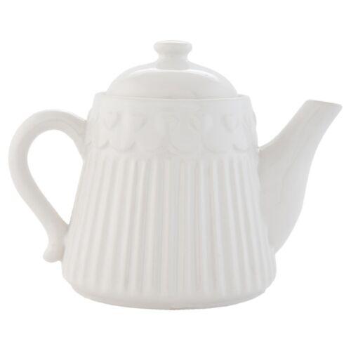 Clayre /& Eef Teekanne Porzellan weiß Herz 19x14cm
