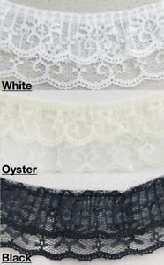 "Ribbon Top 3 1//4/"" and Lace Gathered//Ruffled Per Yard Color Choices"