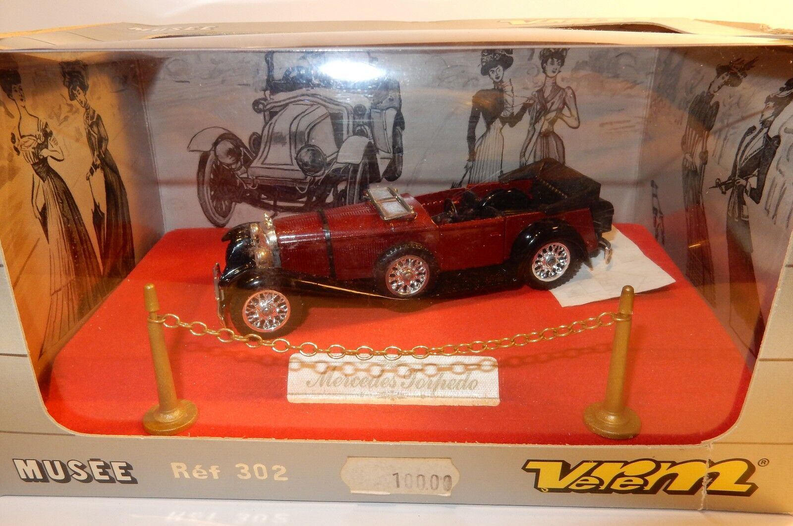VEREM SOLIDO OLD MERCEDES TORPEDO SS 1928 RED GARNET 1 43 REF 302 IN BOX