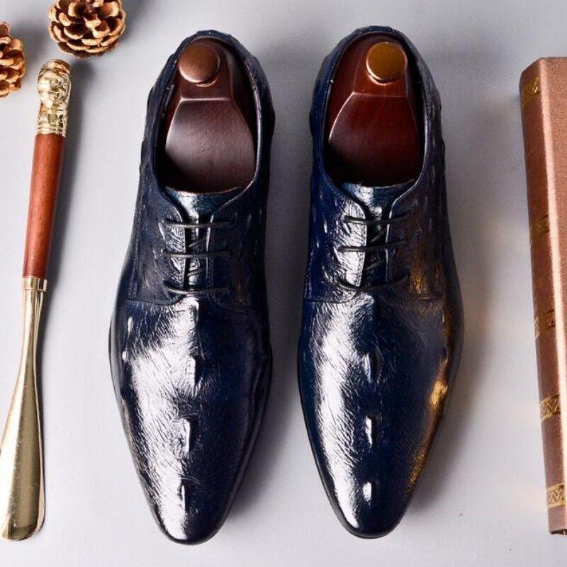 prendiamo i clienti come nostro dio Men Spring Leather Pointy Toe Crocodile Print Print Print British Style Formal Casual scarpe  sconto di vendita