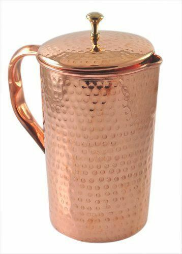 2 Set Pure Copper Jug (inside  out) w  Cover hammerot Water Pitcher 62 oz