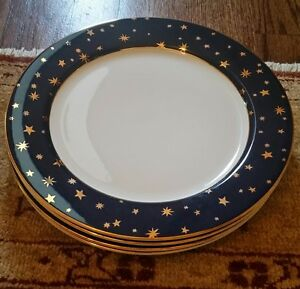 Image is loading Set-of-4-Sakura-Galaxy-Dinner-Plates-Blue- & Set of 4 Sakura Galaxy Dinner Plates Blue \u0026 14K Gold | eBay