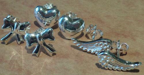 Heart Bow Silver Stud Earrings Set Of Three; Wings