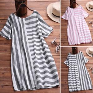 ZANZEA-Womens-Summer-Striped-O-Neck-Casual-Loose-Shirt-Dress-Ladies-Smock-Dress