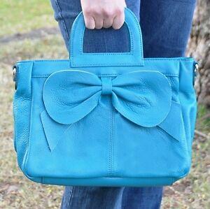 Women-039-s-Genuine-Leather-Handbag-Tote-Satchel-Bag-great-for-IPAD-Blue-Tan-Pink