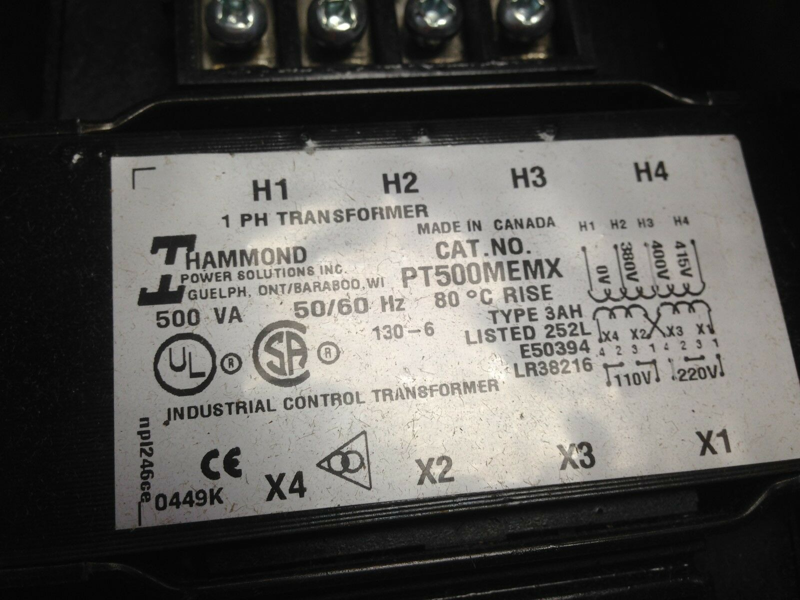100VA 50//60 Hz Hammond Industrial Control Transformer PT100MQMJ 1PH