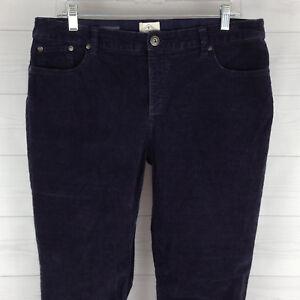 St-John-039-s-Bay-Elastic-Waist-Womens-Size-12-Stretch-Navy-Blue-Straight-Corduroy