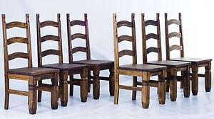6er Set Stuhle Mexico Fur Esstisch Pinie Massiv Eiche Antik