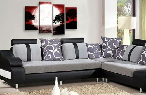 LARGE Black White Grey Water Reflection Moon Canvas Wall Art Picture Landscape