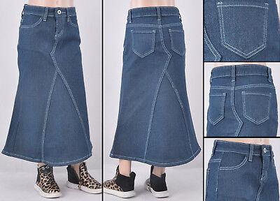 NWT Girls denim lurex long skirt dye blue adustable elastic inside RK-87123K