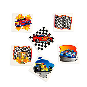 RACING-PARTY-FAVOURS-Temporary-Tattoos-Car-Race-Flag-Tattoo-Pack-of-36-Free-Post