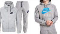Mens Nike Air Grey Hooded Full Tracksuit Overhead Zip Joggers S Xl Hoodie Pants