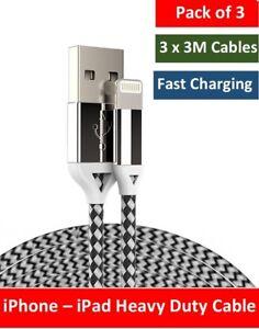 3M-Lightning-dovere-forte-Intrecciato-USB-Cavo-Caricabatteria-Per-iPhone-6-6S-iPad-7-8-X