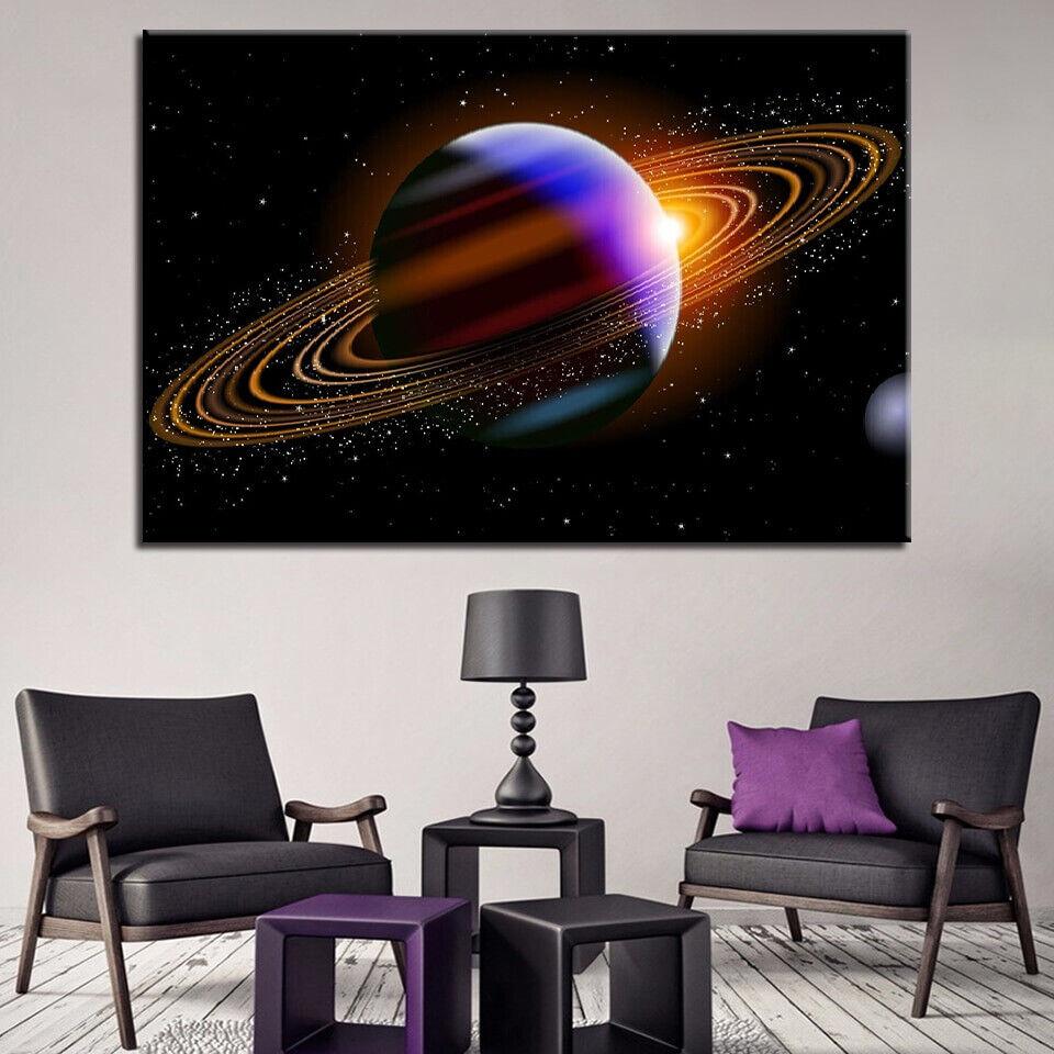 Saturn Planet In Dark Space 1 Panel Canvas Print Wall Art