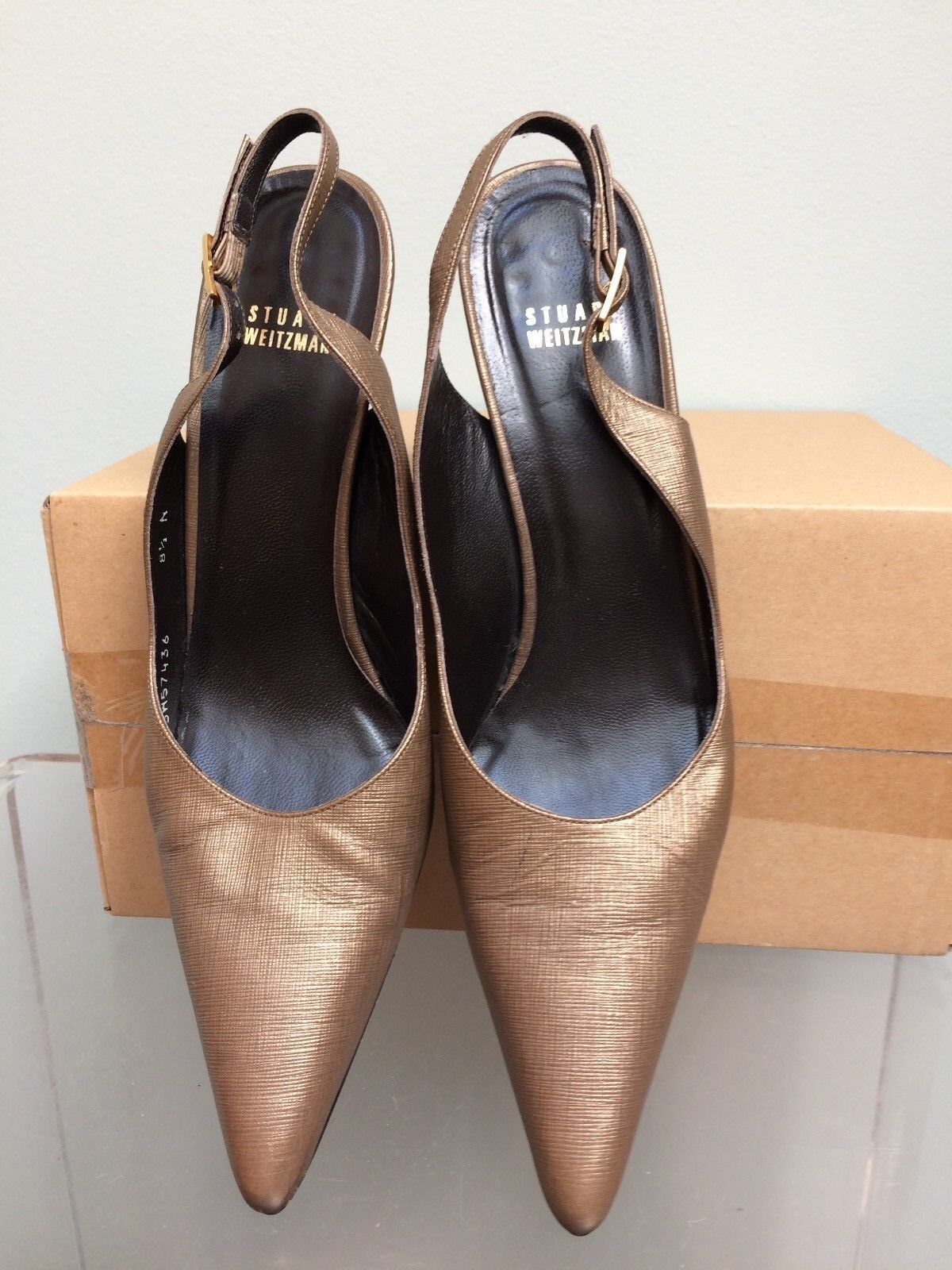 STUART WEITZMAN Sz 8.5 Narrow Bronze/Gold Pointy Toe Slingback 3
